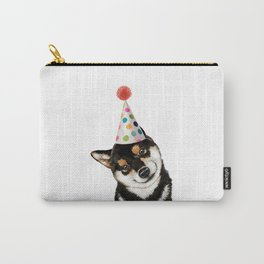 Black Shiba Inu with Party Hat Carry-All Pouch