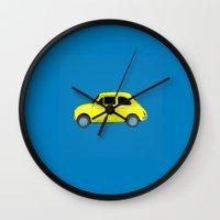 A tiny Fiat (blue) Wall Clock