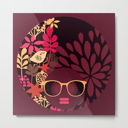 Afro Diva : Sophisticated Lady Deep Pink & Burgundy Metal Print