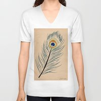 peacock feather V-neck T-shirts featuring PEACOCK FEATHER by Joelle Poulos