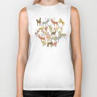 ikat Biker Tanks featuring deer horse ikat party by Sharon Turner