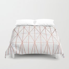 Modern geometric triangles faux rose gold pattern on white marble Duvet Cover