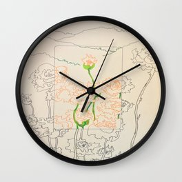 Orange Flowers Wall Clock