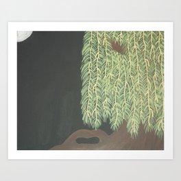 Moonlit Weeping Willow Art Print