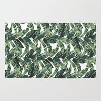 banana leaf Area & Throw Rugs featuring BANANA LEAF by bows & arrows