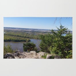 Panoramic view of the Upper Mississippi River, looking into MN from Buena Vista Park, Alma, WI Rug
