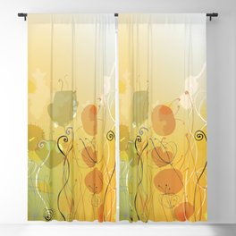 Floral Abstract Line Art Print Design Blackout Curtain