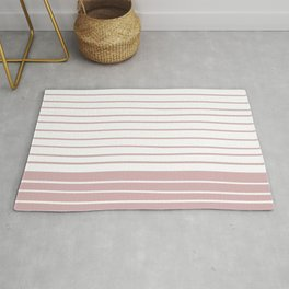 Colorful Stripes, Abstract, Pink and White, Geometric Art Rug