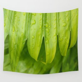 Fresh Tropical Photo Art - Raindrops on Palm Frond Wall Tapestry