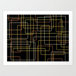 Yellow Cubes on Black Art Print
