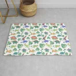 Dinosaurs in the Green Monstera Jungle Rug