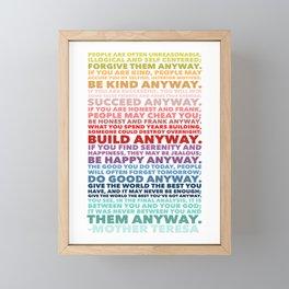 Do It Anyway Poem | Mother Teresa Framed Mini Art Print