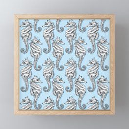 Blue Seahorses Framed Mini Art Print