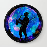 jazz Wall Clocks featuring Jazz by Saundra Myles