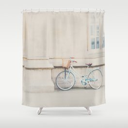 a mint green bicycle is the perfect way to travel around Cambridge Shower Curtain
