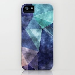 The deep blue sea - Watercolor triangles pattern in blue colors iPhone Case