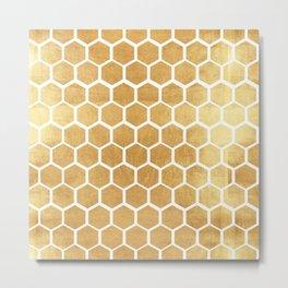 Gold honey bee Metal Print
