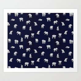 Indian Baby Elephants in Navy Art Print
