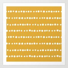 Spotted, Mudcloth, Mustard Yellow, Boho Prints Art Print