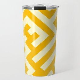 Cream Yellow and Amber Orange Diagonal Labyrinth Travel Mug