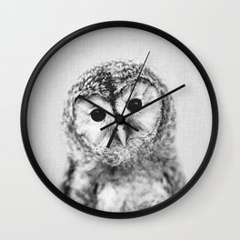 Baby Owl - Black & White Wall Clock