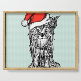 Christmas Dog In Santa Clause Hat Serving Tray