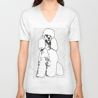 poodle V-neck T-shirts featuring My Poodle by Mike van der Hoorn
