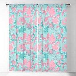 Brushstrokes Abstract - pink & aqua Blackout Curtain