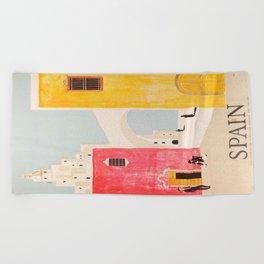 Spain Vintage Travel Poster Mid Century Minimalist Art Beach Towel