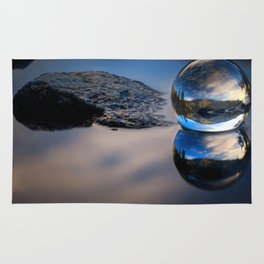 Reflections of Reflections Castle Lake in a crytsal ball photograph Rug