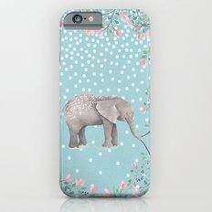 Beautiful Elephant with flowers on dots backround-Animal, flower, dot iPhone 6s Slim Case