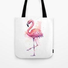 Pink Flamingo Watercolor Tropical Bird Tote Bag