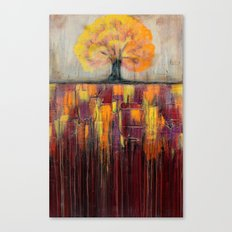 Tree in Autumn Landscape - Abstract Landscape Painting Canvas Print