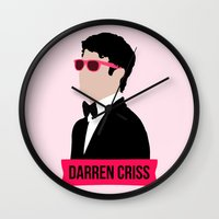 darren criss Wall Clocks featuring Darren Criss with pink shades! by byebyesally