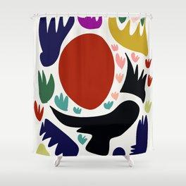 Birds in the sun minimal art abstract pattern decorative Shower Curtain