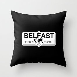 Belfast Northern Ireland GPS Coordinates Map Artwork Throw Pillow