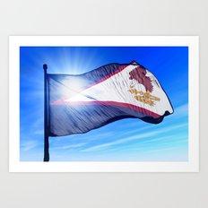 American Samoa flag waving on the wind Art Print