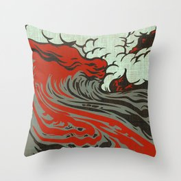 Lava Meets The Sea Throw Pillow