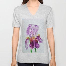 Pinky Purple Iris Bloom watercolor by CheyAnne Sexton Unisex V-Neck