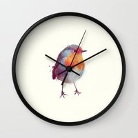 wesley bird Wall Clocks featuring Winter Robin by Amy Hamilton