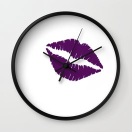 Violet Kiss with white Background Wall Clock