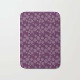 Magenta Succulent Rosettes Organic Pattern - Floral Line Drawing Bath Mat