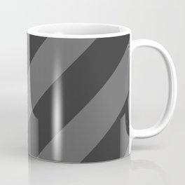 Stripes Diagonal Black & Gray Coffee Mug