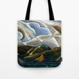 Clouds and Water with Sailboats nautical landscape painting by Arthur Dove Tote Bag