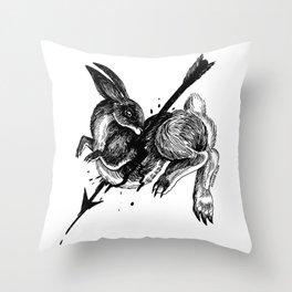 Hunted Rabbit Throw Pillow