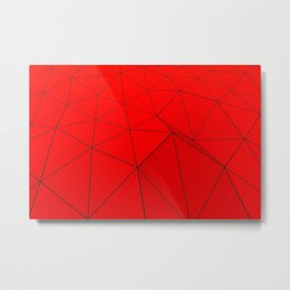 Red low poly displaced surface with black lines Metal Print