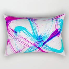 Expressive Brushstrokes of Hot Pink and Electric Cyan Rectangular Pillow