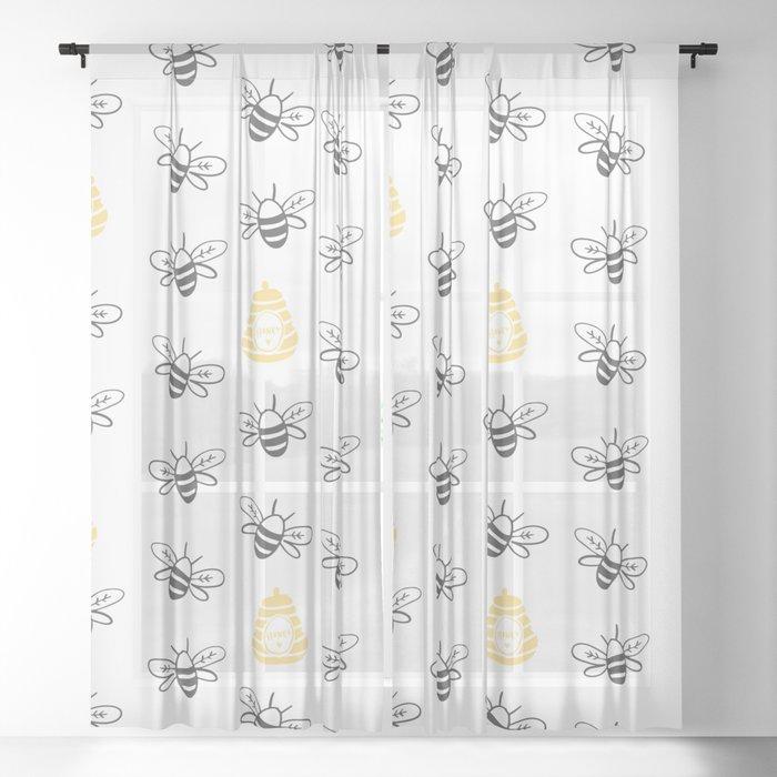 Honey Bee Sheer Curtain
