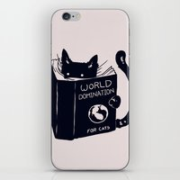 reading iPhone & iPod Skins featuring World Domination For Cats by Tobe Fonseca