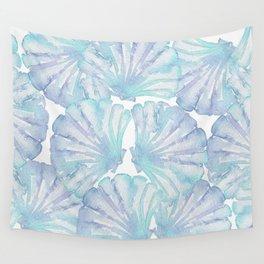 Shell Ya Later - Turquoise Seashell Pattern Wall Tapestry